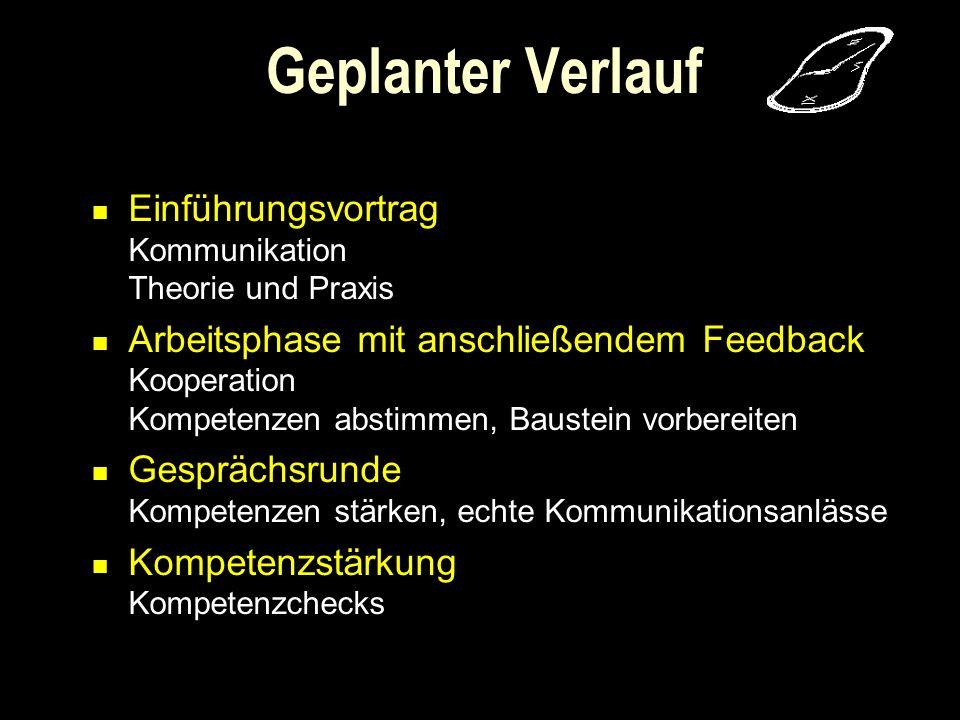 Geplanter Verlauf Einführungsvortrag Kommunikation Theorie und Praxis
