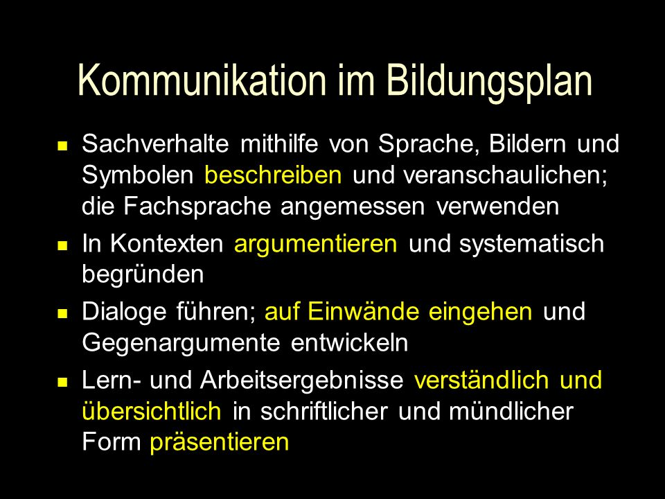 Kommunikation im Bildungsplan