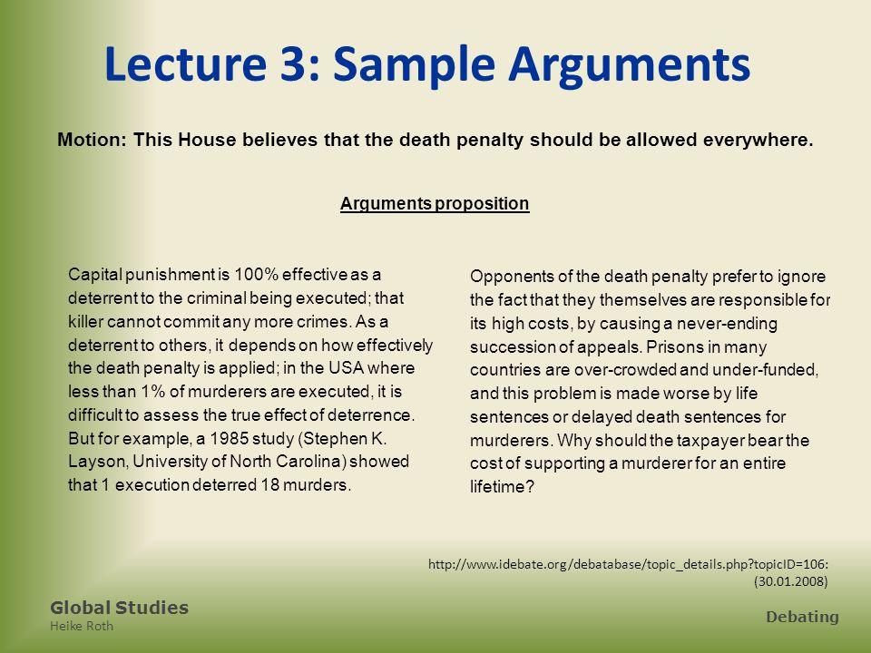 Lecture 3: Sample Arguments Arguments proposition