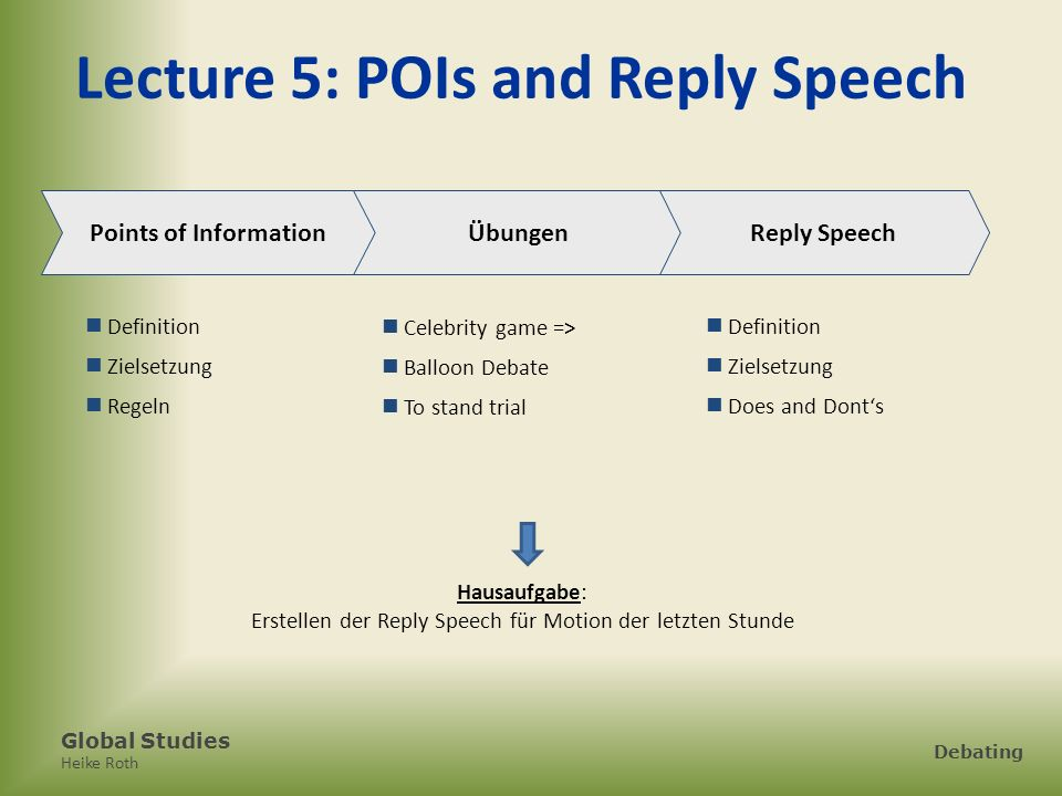 Lecture 5: POIs and Reply Speech