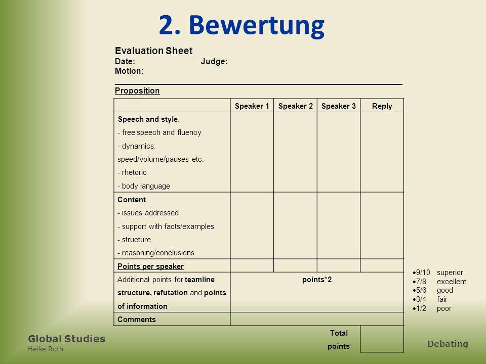 2. Bewertung Evaluation Sheet Date: Judge: