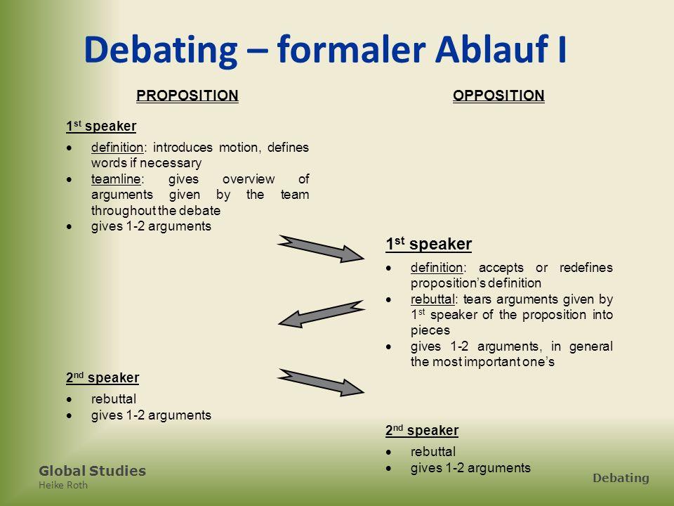 Debating – formaler Ablauf I