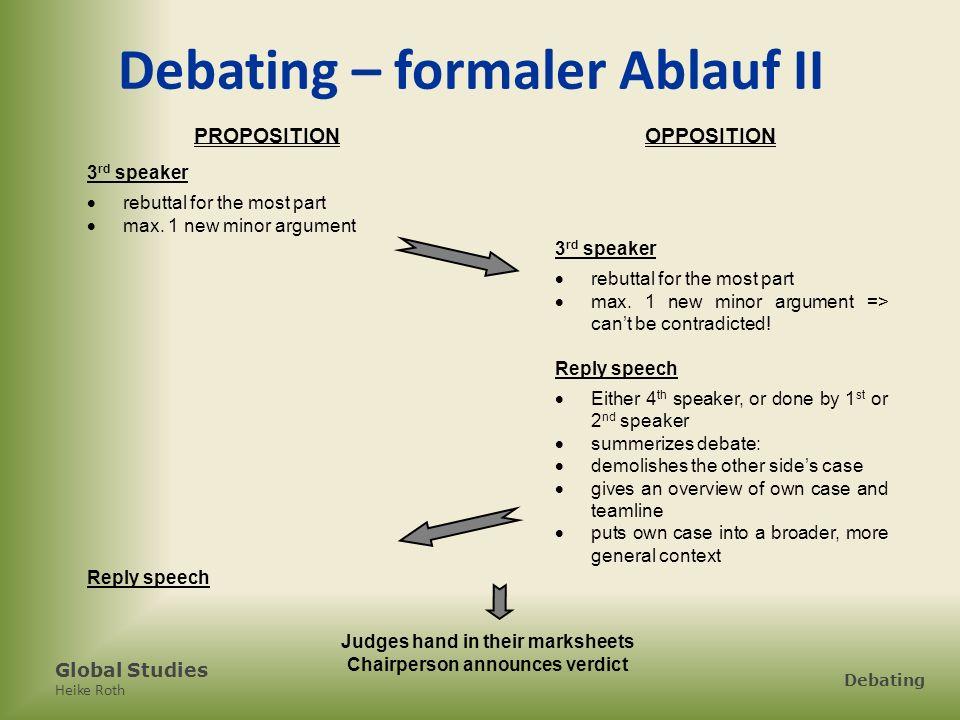 Debating – formaler Ablauf II Chairperson announces verdict