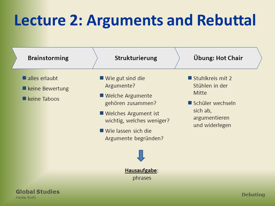 Lecture 2: Arguments and Rebuttal