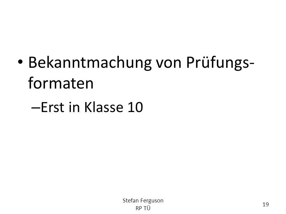 Bekanntmachung von Prüfungs-formaten