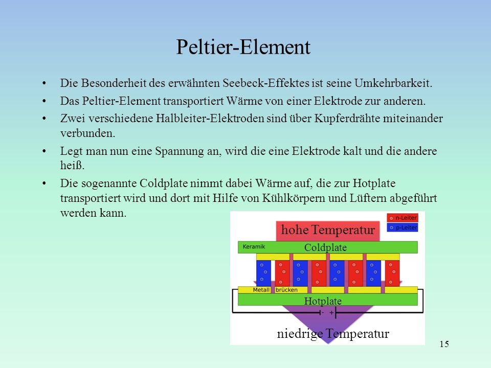 Peltier-Element hohe Temperatur niedrige Temperatur