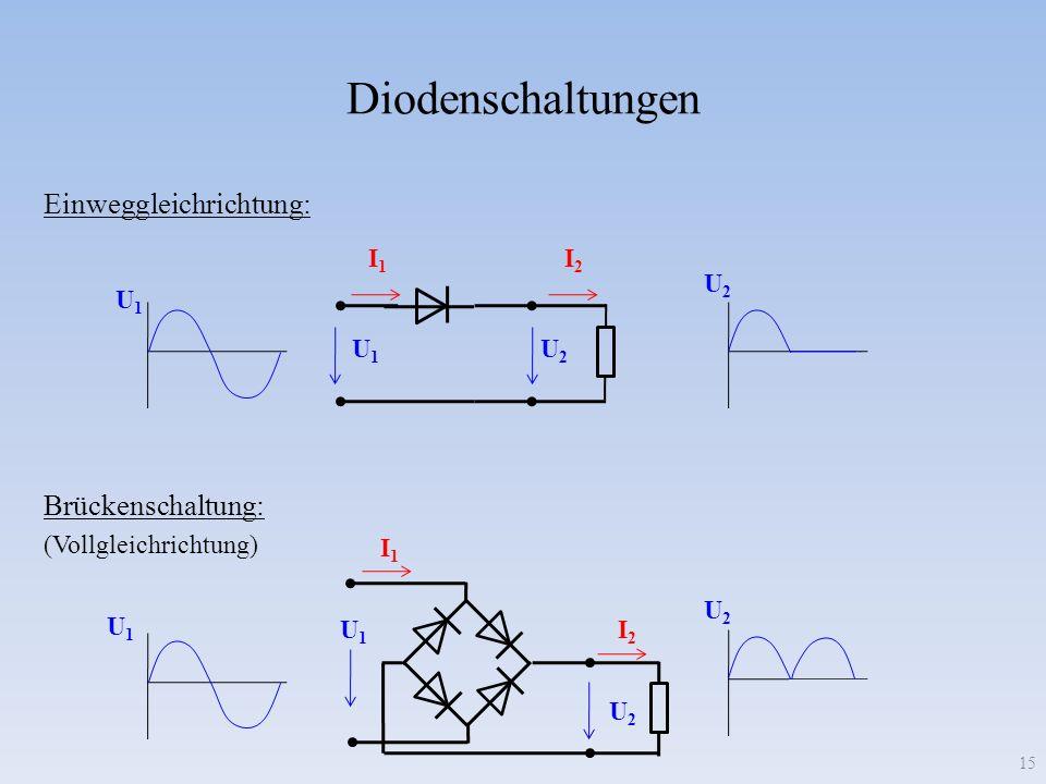 Diodenschaltungen Einweggleichrichtung: Brückenschaltung: I1 I2 U2 U1