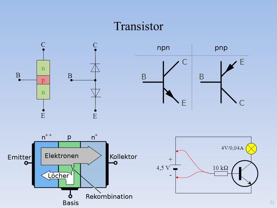 Transistor C C n B B p E E + - 4,5 V 10 kΩ 4V/0,04A