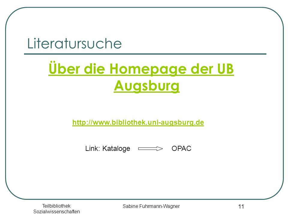 Über die Homepage der UB Augsburg