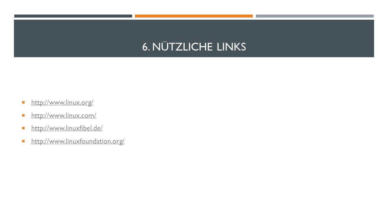 6. Nützliche Links http://www.linux.org/ http://www.linux.com/