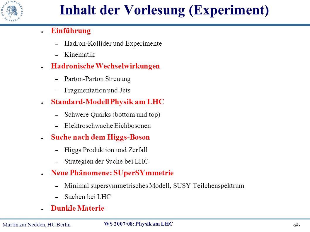 Inhalt der Vorlesung (Experiment)