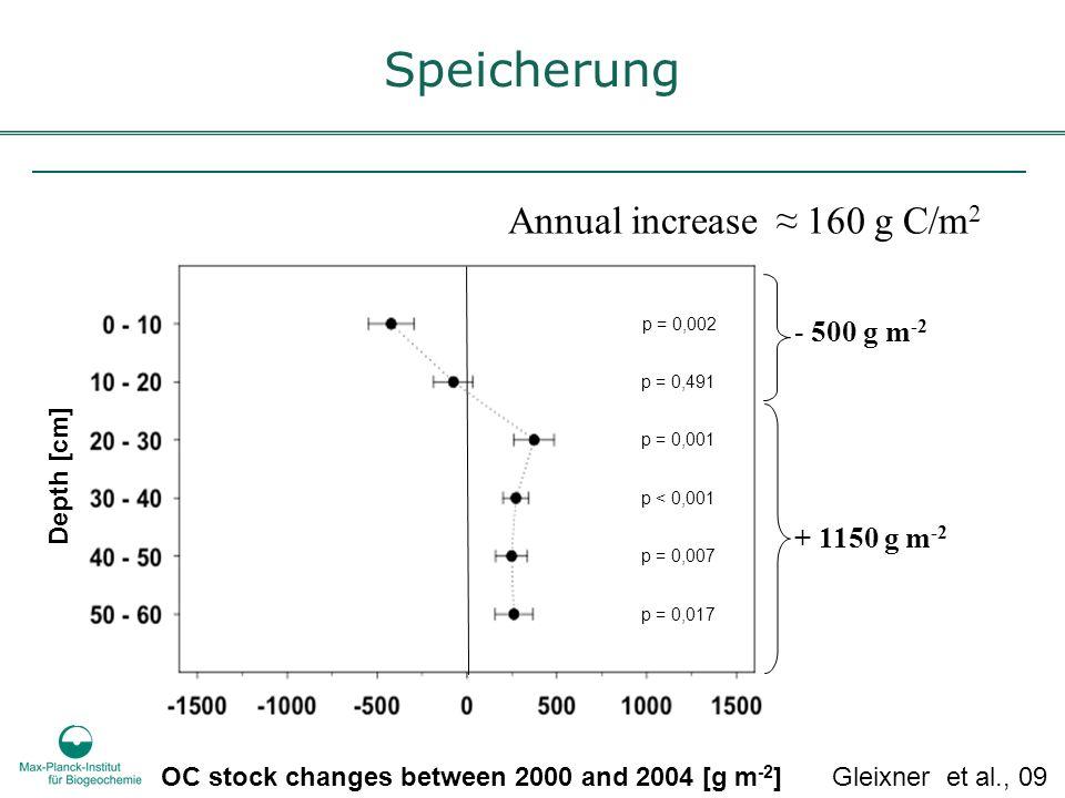 Speicherung Annual increase ≈ 160 g C/m2 - 500 g m-2 + 1150 g m-2