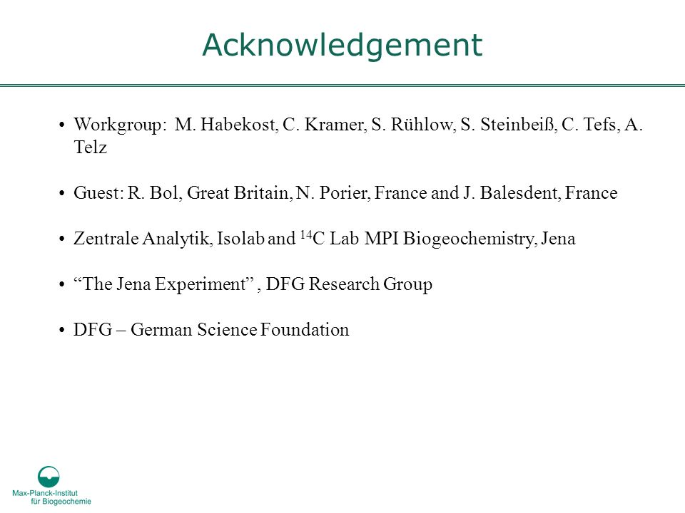 Acknowledgement Workgroup: M. Habekost, C. Kramer, S. Rühlow, S. Steinbeiß, C. Tefs, A. Telz.