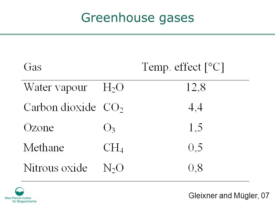 Greenhouse gases Gleixner and Mügler, 07