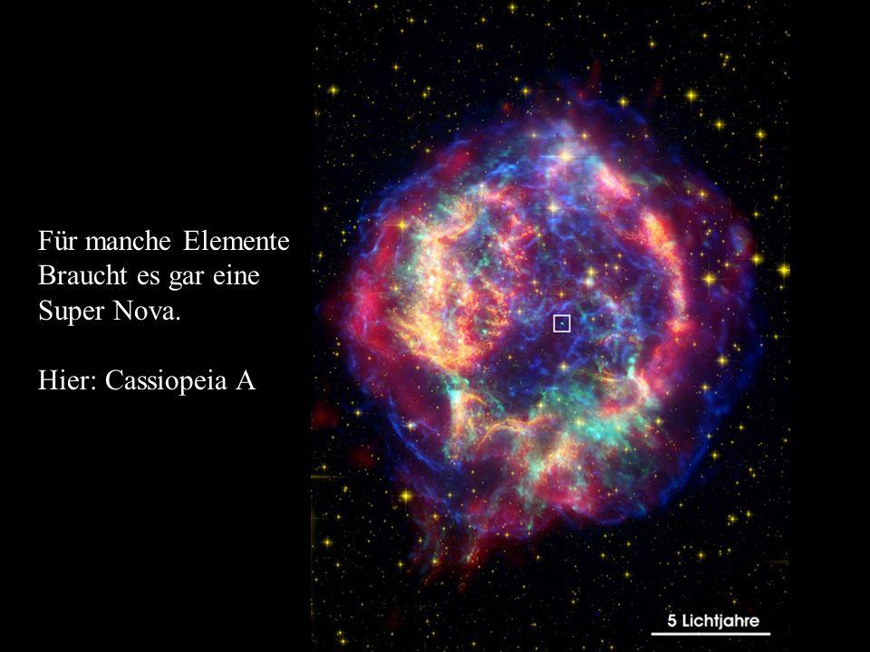 Für manche Elemente Braucht es gar eine Super Nova. Hier: Cassiopeia A