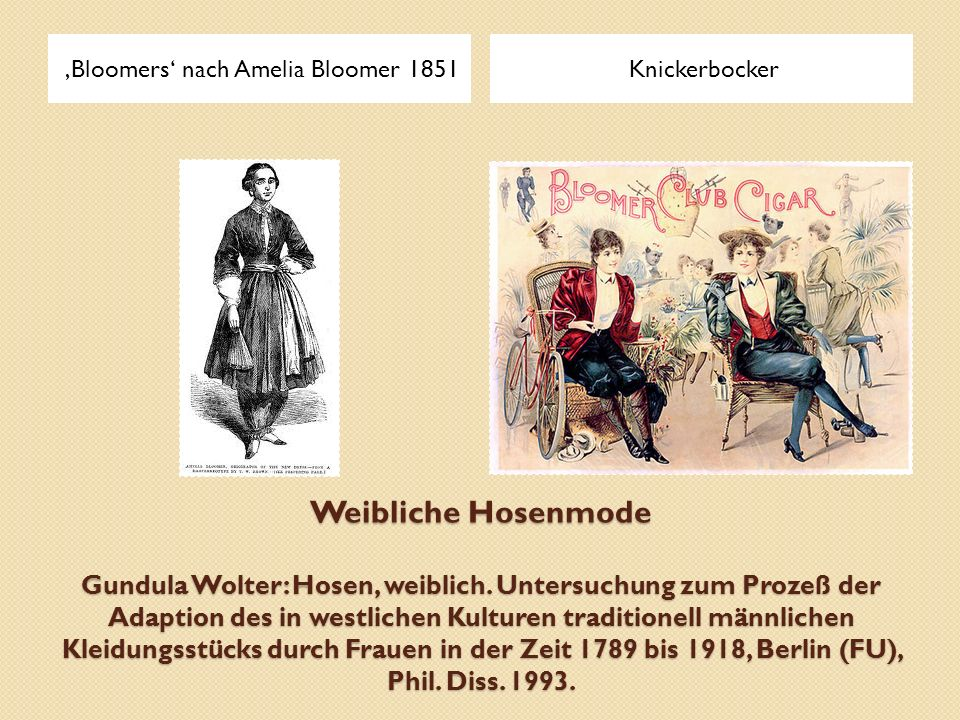 'Bloomers' nach Amelia Bloomer 1851