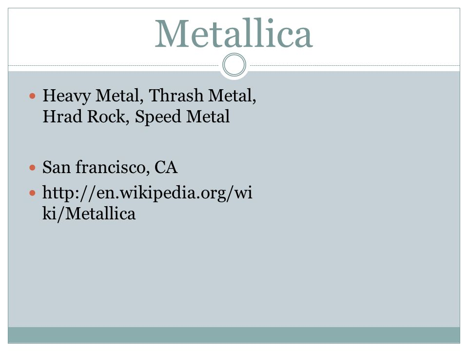 Metallica Heavy Metal, Thrash Metal, Hrad Rock, Speed Metal