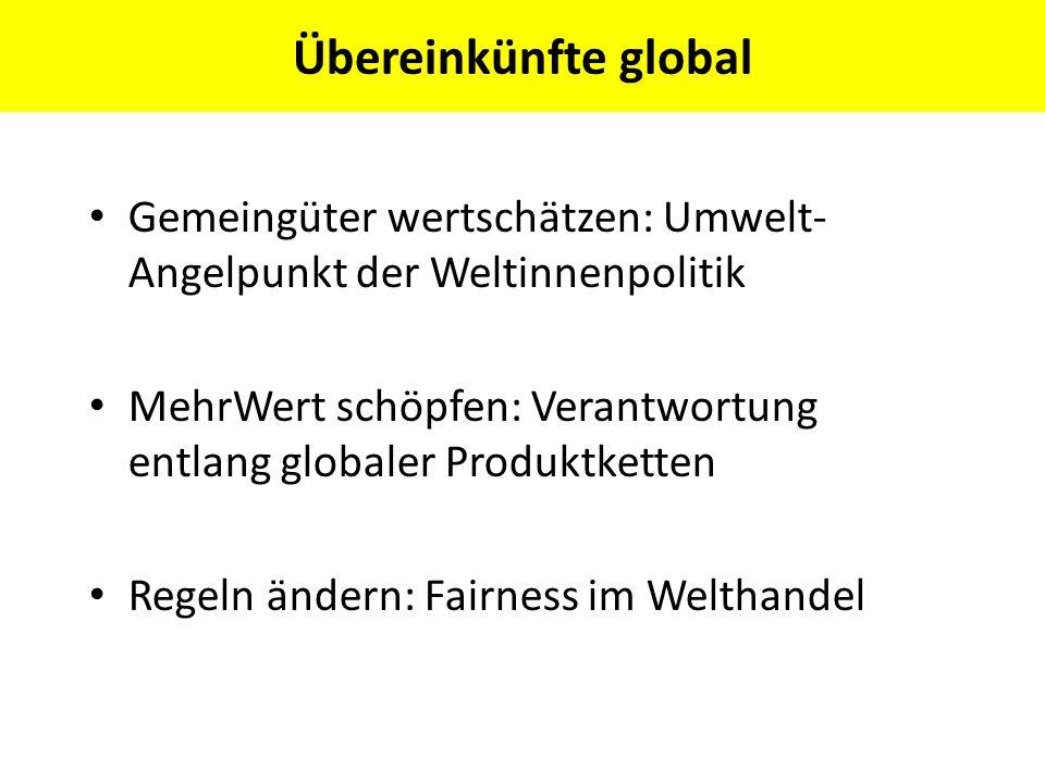 Übereinkünfte global Gemeingüter wertschätzen: Umwelt-Angelpunkt der Weltinnenpolitik.