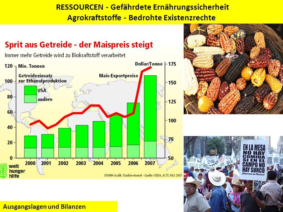 RESSOURCEN - Gefährdete Ernährungssicherheit Agrokraftstoffe - Bedrohte Existenzrechte