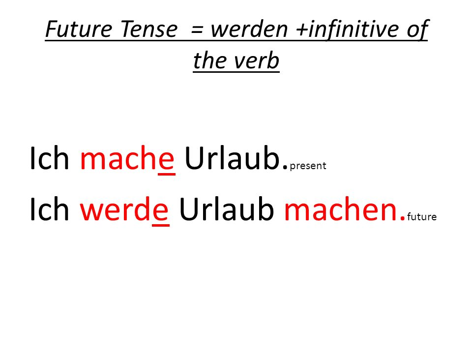 Future Tense = werden +infinitive of the verb
