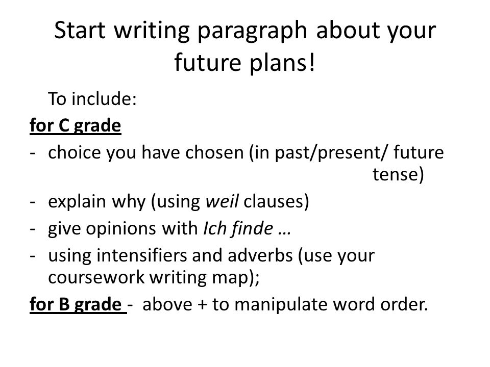 Start writing paragraph about your future plans!