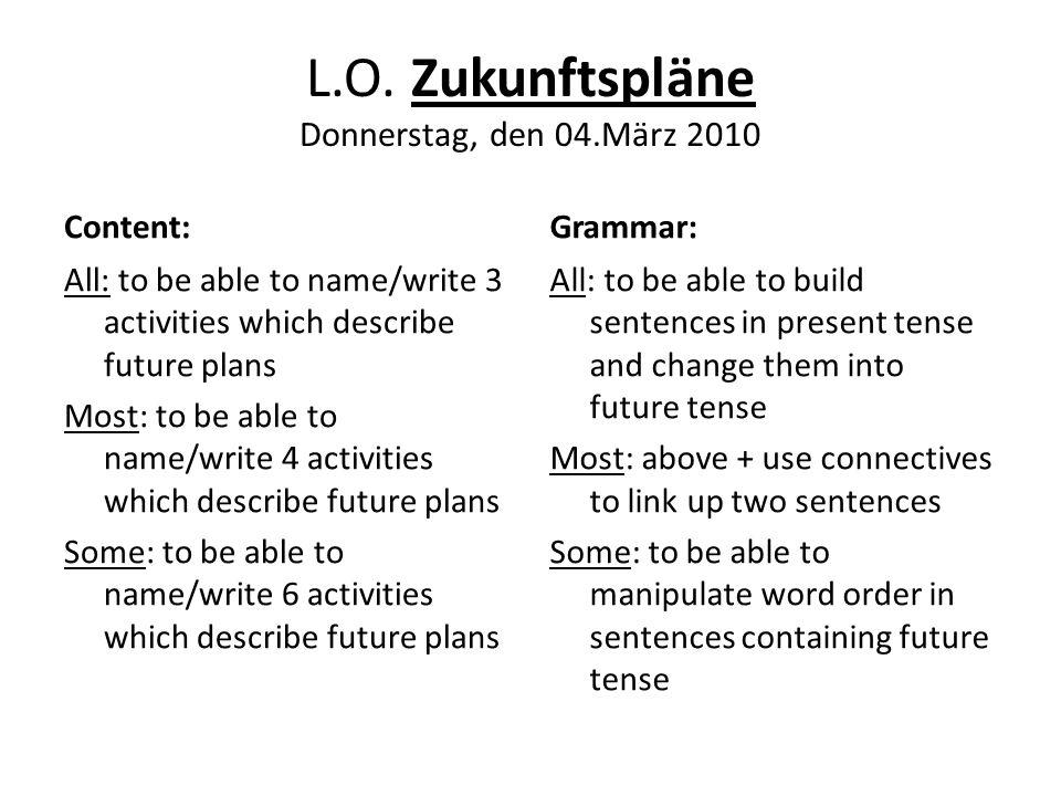 L.O. Zukunftspläne Donnerstag, den 04.März 2010