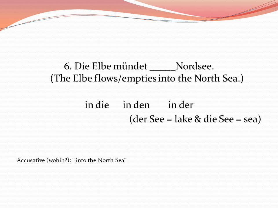 (der See = lake & die See = sea)