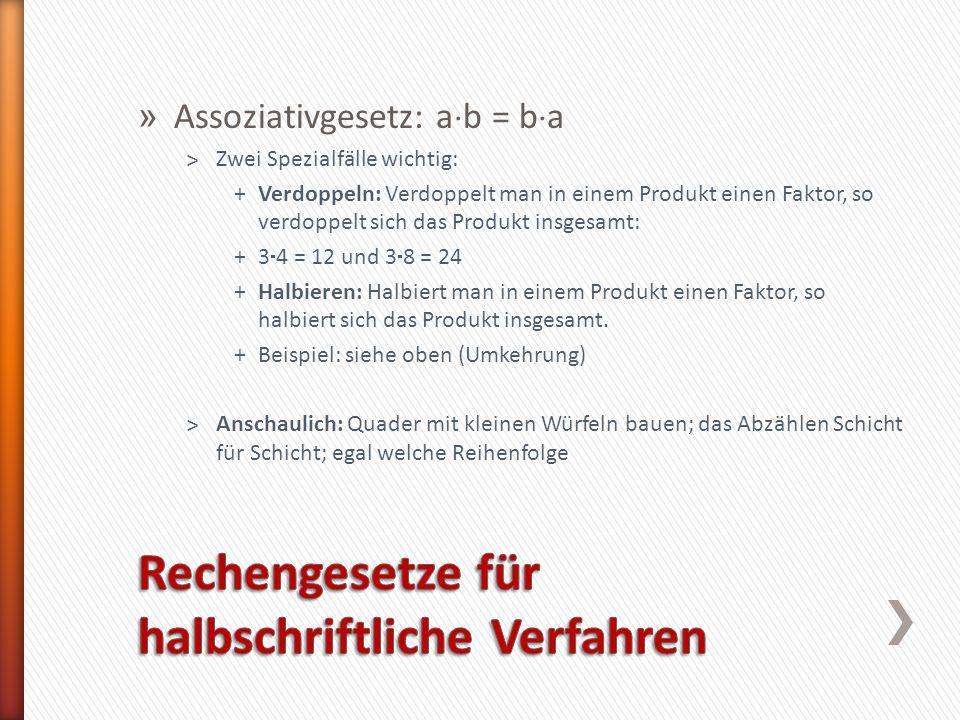 Rechengesetze für halbschriftliche Verfahren