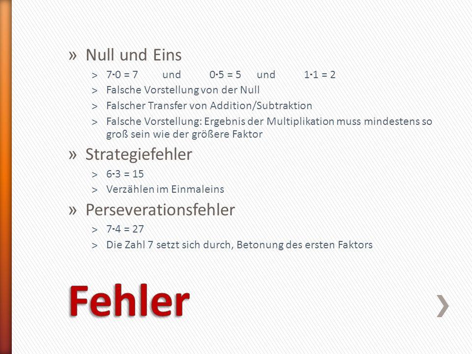 Fehler Null und Eins Strategiefehler Perseverationsfehler