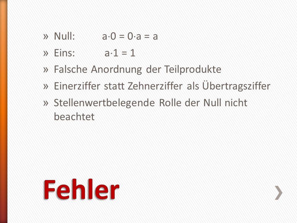 Fehler Null: a0 = 0a = a Eins: a1 = 1