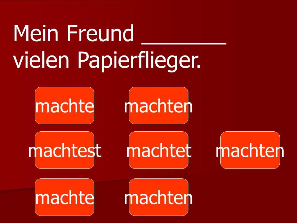 Mein Freund _______ vielen Papierflieger.