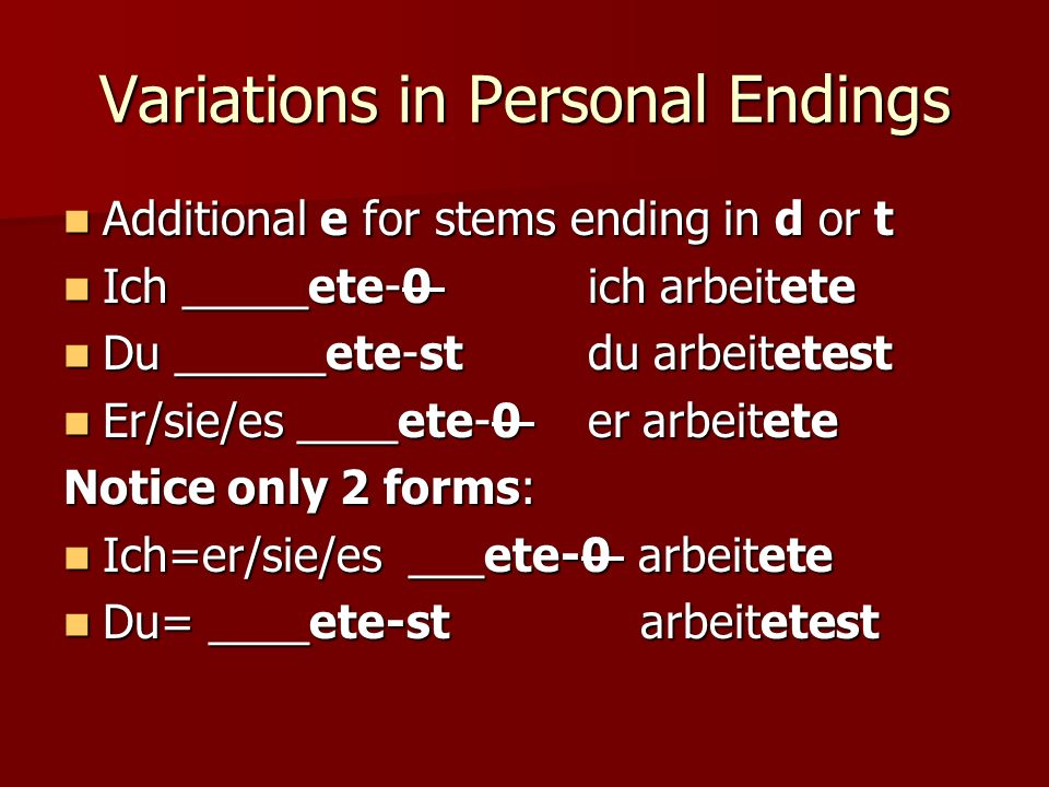 Variations in Personal Endings
