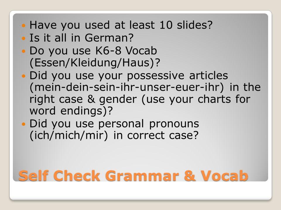 Self Check Grammar & Vocab