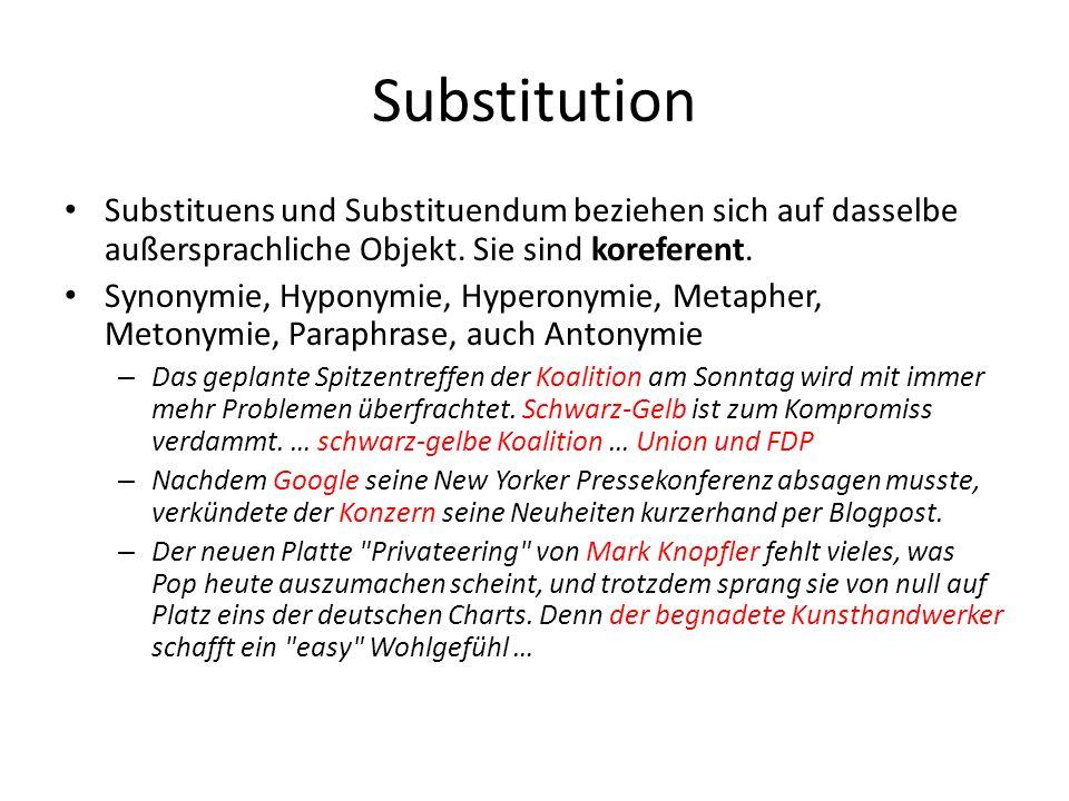 Substitution Substituens und Substituendum beziehen sich auf dasselbe außersprachliche Objekt. Sie sind koreferent.