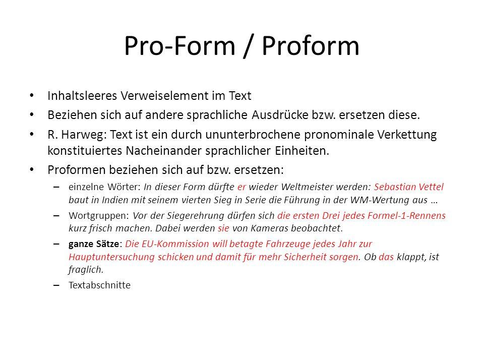 Pro-Form / Proform Inhaltsleeres Verweiselement im Text