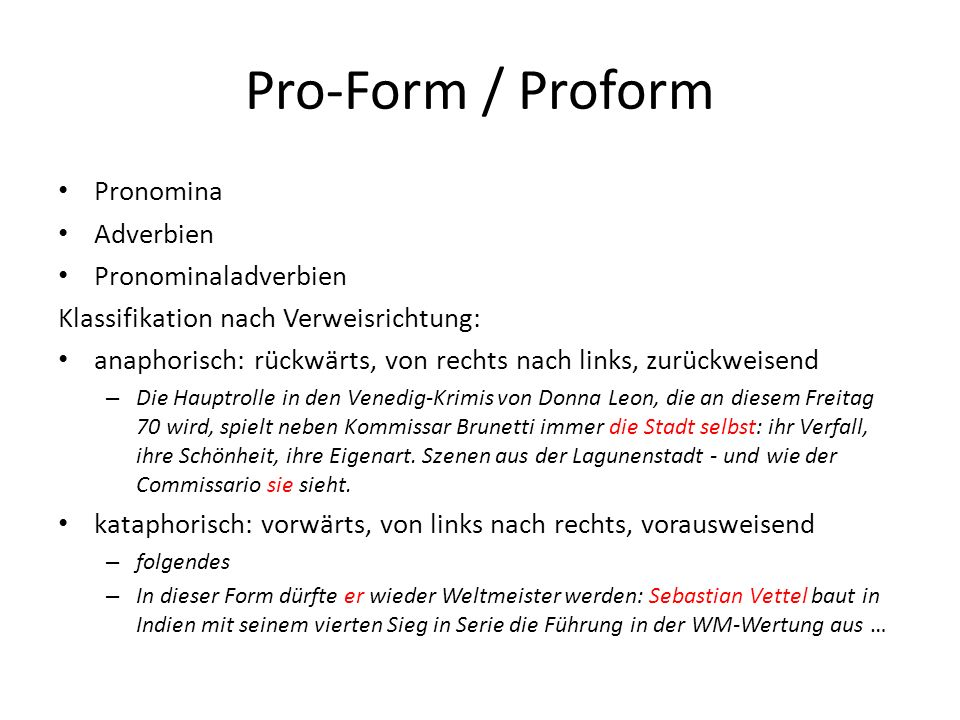 Pro-Form / Proform Pronomina Adverbien Pronominaladverbien