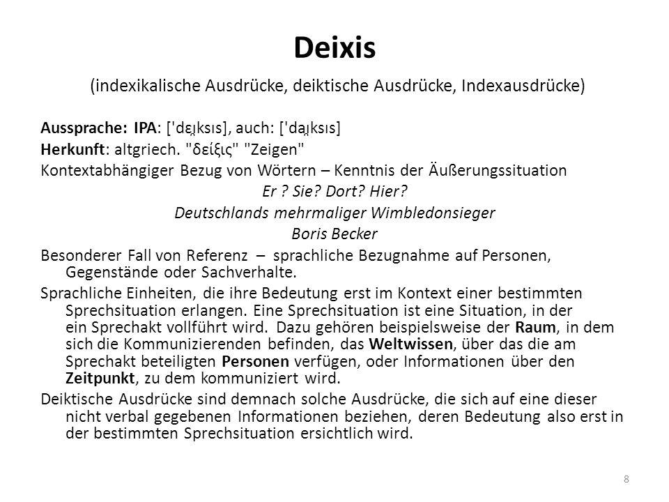 Deixis (indexikalische Ausdrücke, deiktische Ausdrücke, Indexausdrücke)
