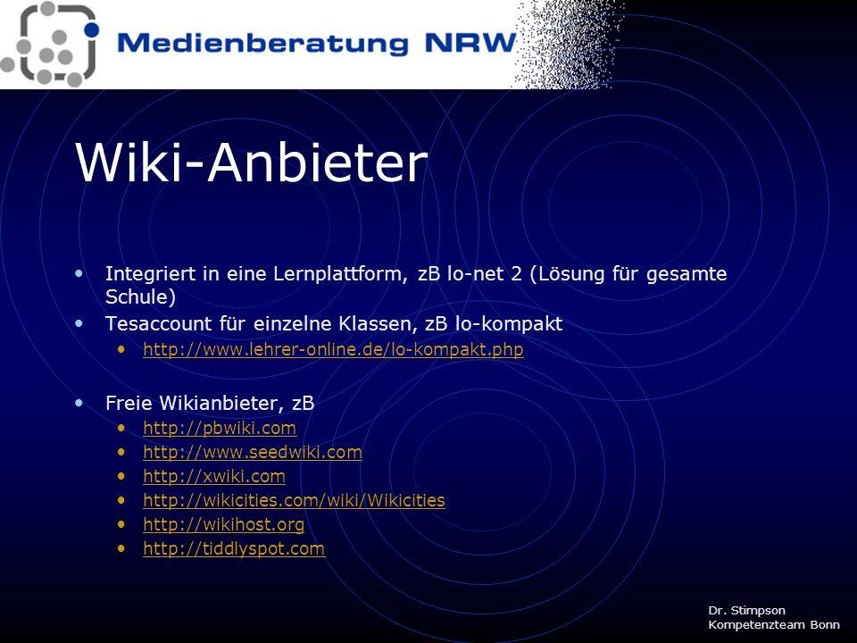 Wiki-Anbieter Integriert in eine Lernplattform, zB lo-net 2 (Lösung für gesamte Schule) Tesaccount für einzelne Klassen, zB lo-kompakt.