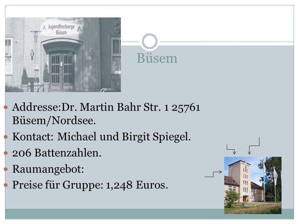 Büsem Addresse:Dr. Martin Bahr Str. 1 25761 Büsem/Nordsee.