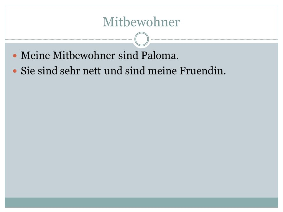 Mitbewohner Meine Mitbewohner sind Paloma.