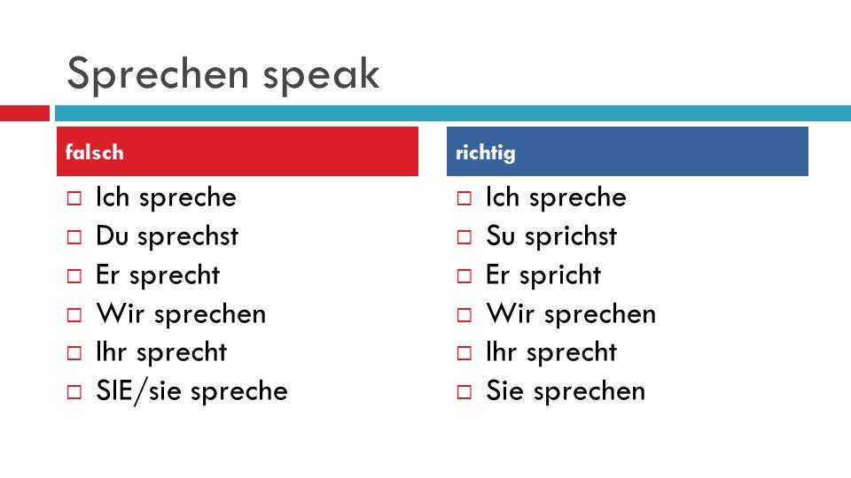 Sprechen speak Ich spreche Du sprechst Er sprecht Wir sprechen