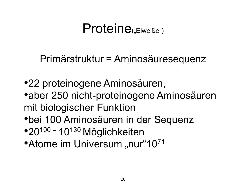 Primärstruktur = Aminosäuresequenz