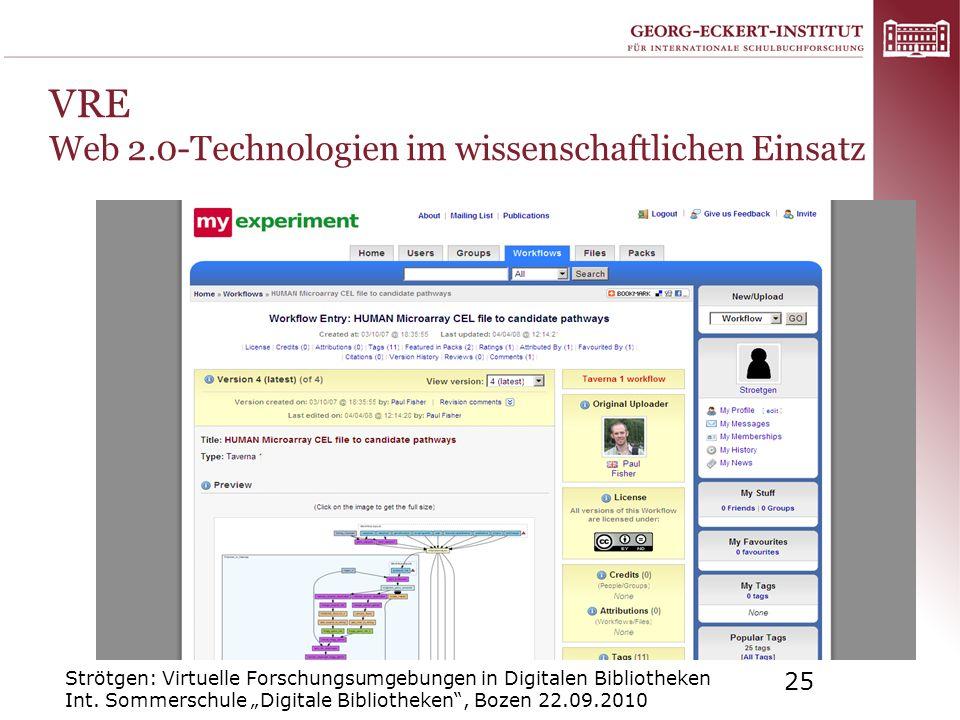 VRE Web 2.0-Technologien im wissenschaftlichen Einsatz