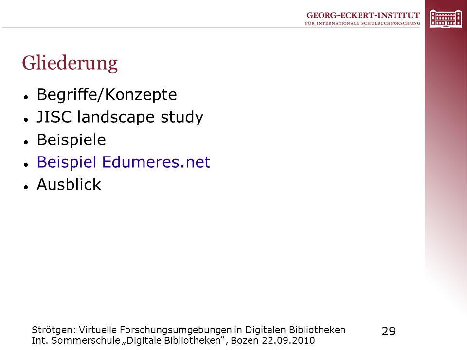 Gliederung Begriffe/Konzepte JISC landscape study Beispiele