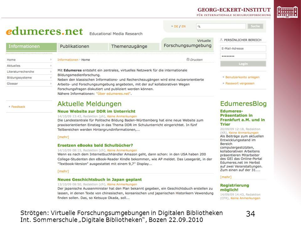 Modular vernetzte Struktur aus Informationen - Publikationen - Themenzugängen und Virtueller Forschungsumgebung