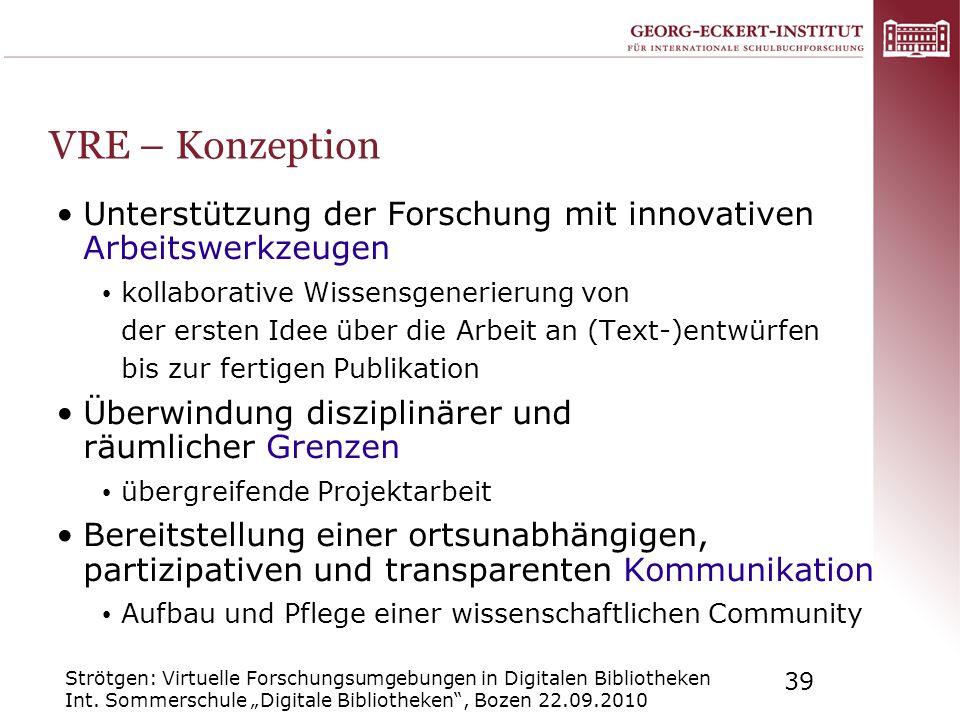VRE – Konzeption Unterstützung der Forschung mit innovativen Arbeitswerkzeugen.