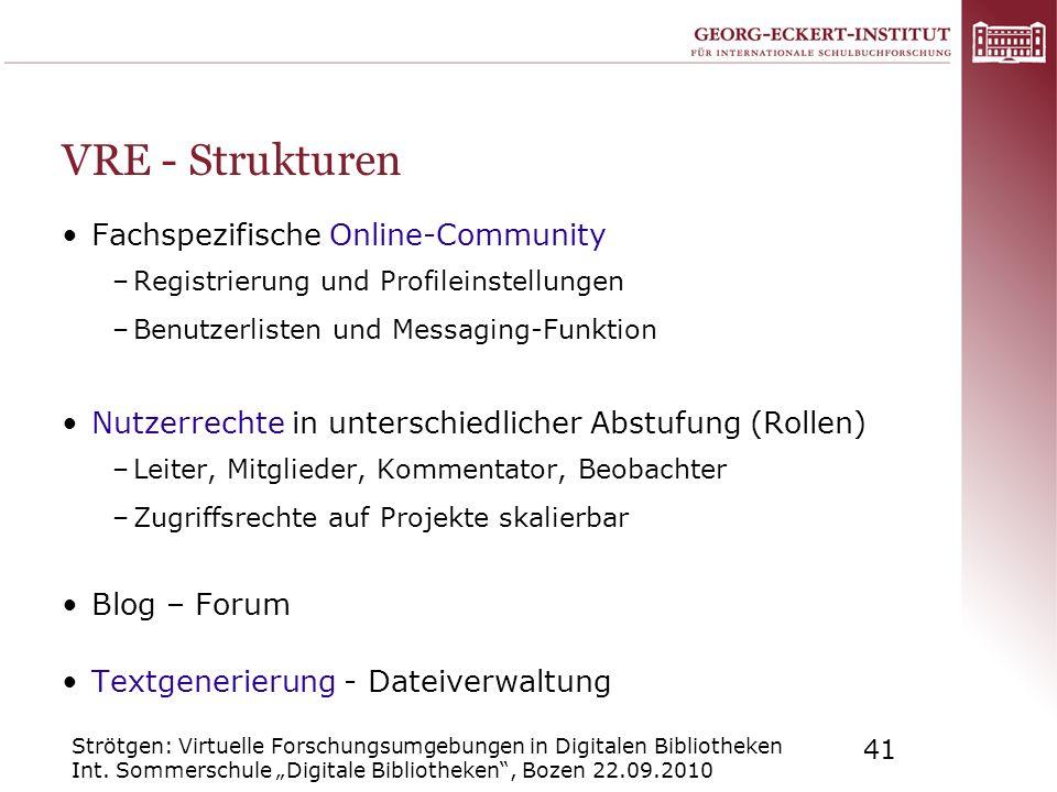 VRE - Strukturen Fachspezifische Online-Community