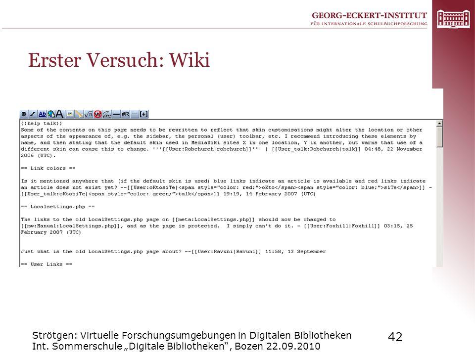 Erster Versuch: Wiki Strötgen: Virtuelle Forschungsumgebungen in Digitalen Bibliotheken Int.