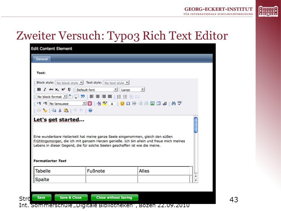 Zweiter Versuch: Typo3 Rich Text Editor