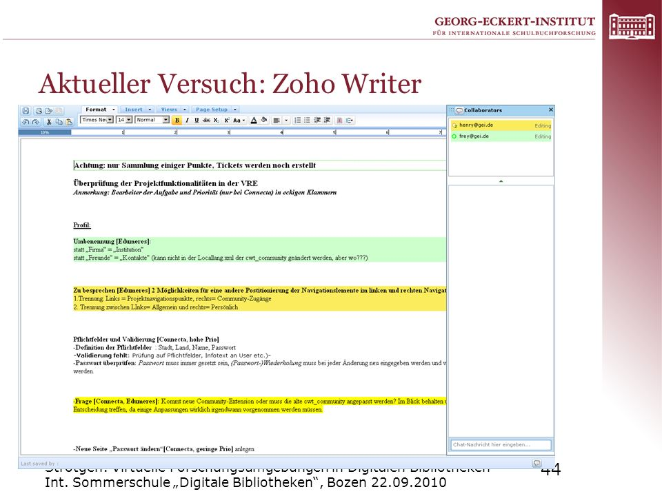 Aktueller Versuch: Zoho Writer